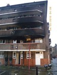 The outside of the block of flats. The fire was in the first floor flat.