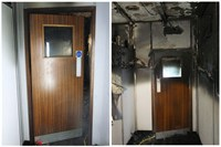 These two pictures show the difference between the damage either side of the closed fire door.