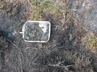The suspected cause of the fire, a disposable BBQ.
