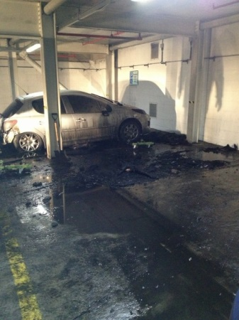 Two cars and a pool fuel fire