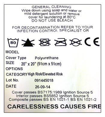 Example of fire resistance labelling