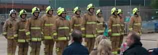 Pictures of firefighters at a passing out parade