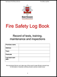 Fire risk assessment east sussex fire rescue service for Fire alarm log book template